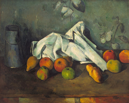Art Prints of Still Life with Milk Jug and Apples by Paul Cezanne