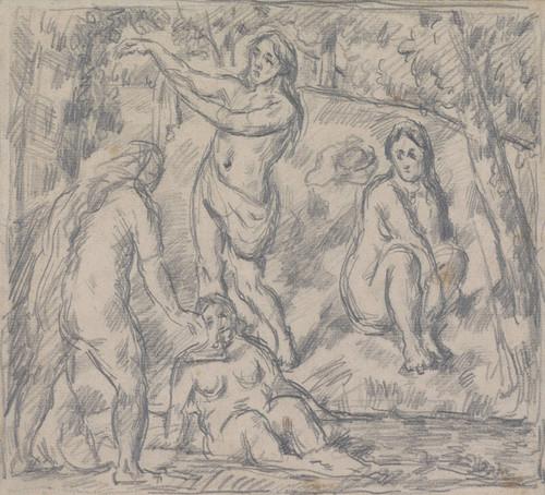 Art Prints of Study of Four Woman Bathing by Paul Cezanne