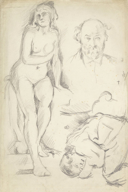Art Prints of Study of Three Figures including a Self Portrait by Paul Cezanne