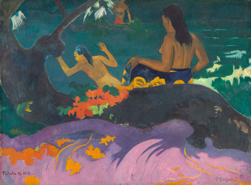Art Prints of Fatata te Miti or By the Sea by Paul Gauguin