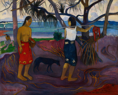 Art Prints of I Raro te Oviri (Under the Pandanus) by Paul Gauguin