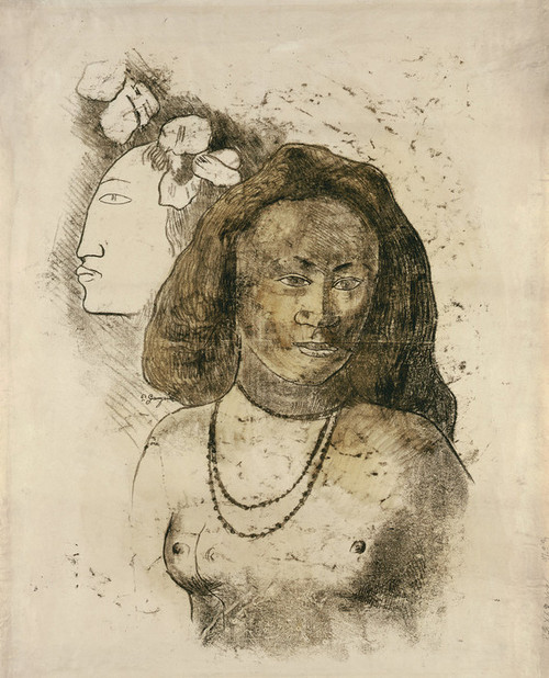 Art Prints of Tahitian Woman with Evil Spirit by Paul Gauguin
