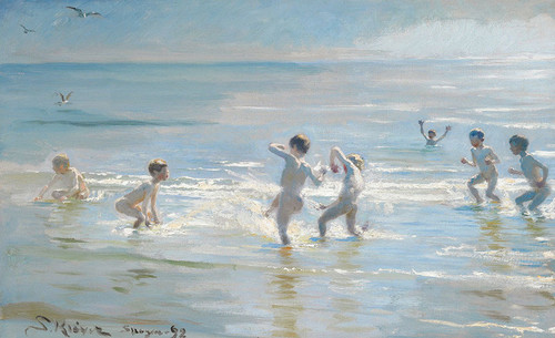 Art Prints of A Group of Boys in the Glinting Water by Peder Severin Kroyer