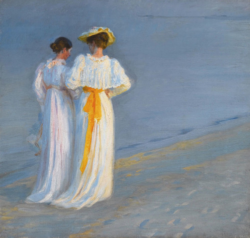 Art Prints of Anna Ancher and Marie Kroyer on the Beach by Peder Severin Kroyer