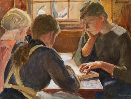 Art Prints of Children Reading by Pekka Halonen