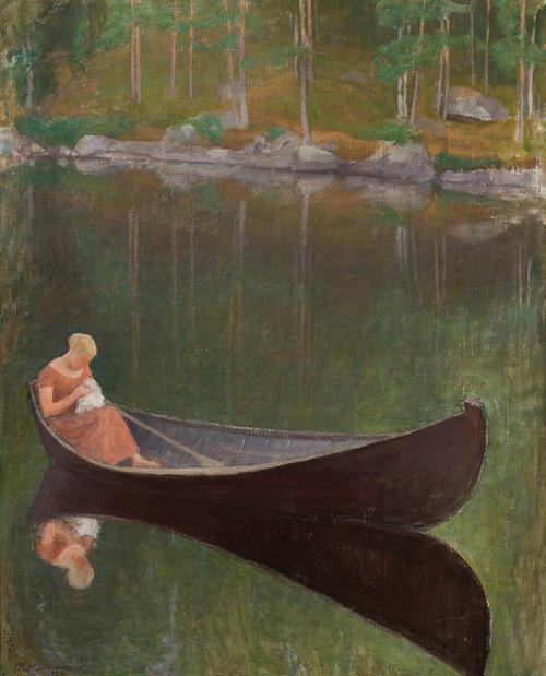 Art Prints of Woman on a Boat by Pekka Halonen