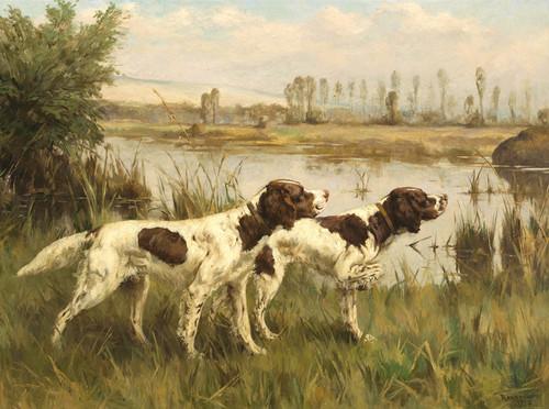 Art Prints of Two Setters by a River by Percival Leonard Rosseau