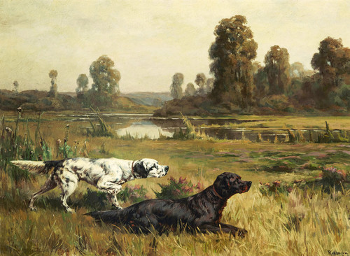 Art Prints of Gordon and English Setter in a Field by Percival Leonard Rosseau