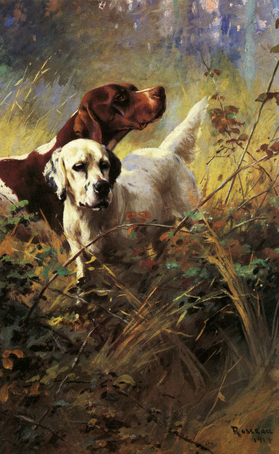 Art Prints of Setter and Pointer in the Field 1914 by Percival Leonard Rosseau