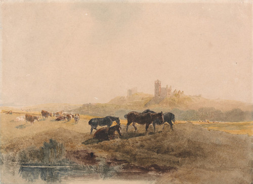 Art Prints of Horses Resting in a Meadow Near Bolsover Castle by Peter De Wint