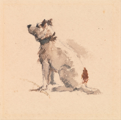 Art Prints of A Terrier Sitting Facing Left by Peter De Wint