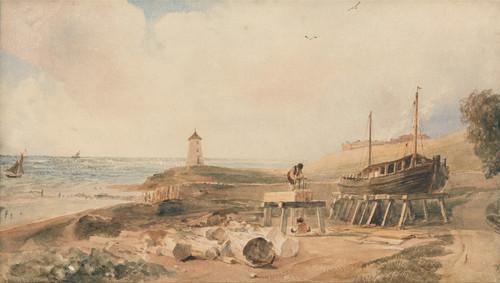 Art Prints of Shipbuilding on the Yorkshire Coast by Peter De Wint