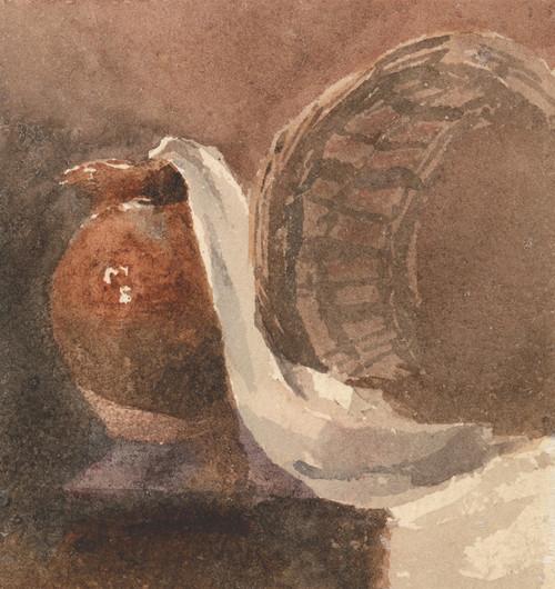 Art Prints of Still Life with Earthenware Jug and Broken Basket by Peter De Wint