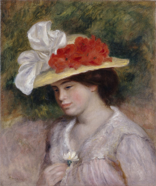Art Prints of Woman in a Flowered Hat by Pierre-Auguste Renoir