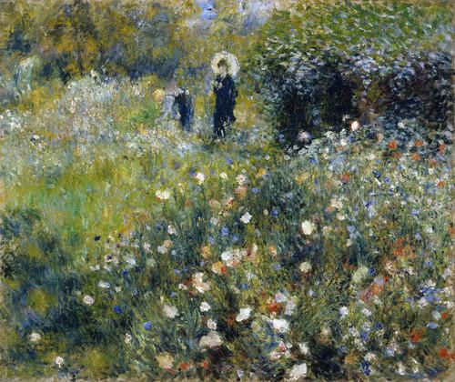 Art Prints of Woman with Umbrella in a Garden by Pierre-Auguste Renoir