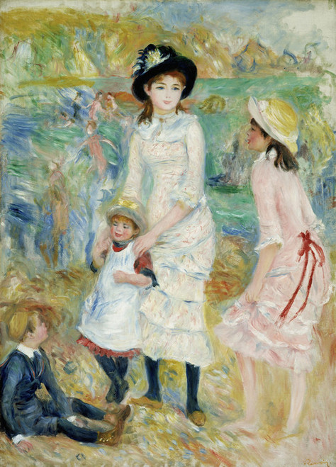 Art Prints of Children on the Seashore, Guernsey by Pierre-Auguste Renoir