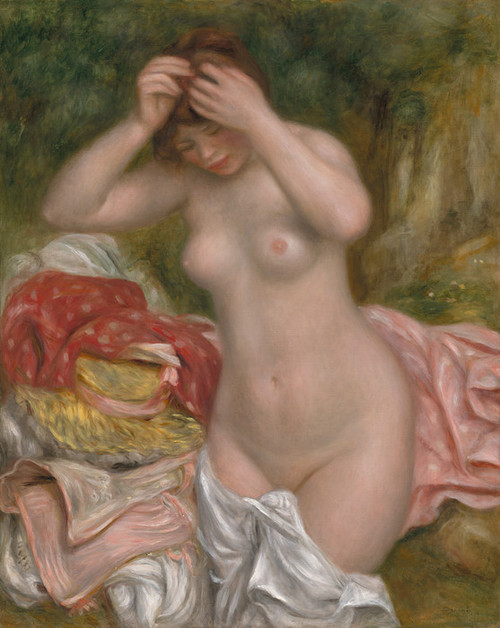 Art Prints of Bather Arranging Her Hair, 1893, by Pierre-Auguste Renoir