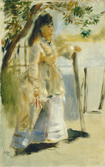 Art Prints of Woman by a Fence by Pierre-Auguste Renoir