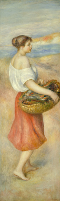 Art Prints of Girl with a Basket of Fish by Pierre-Auguste Renoir