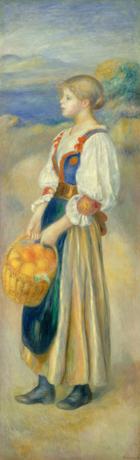 Art Prints of Girl with a Basket of Oranges by Pierre-Auguste Renoir