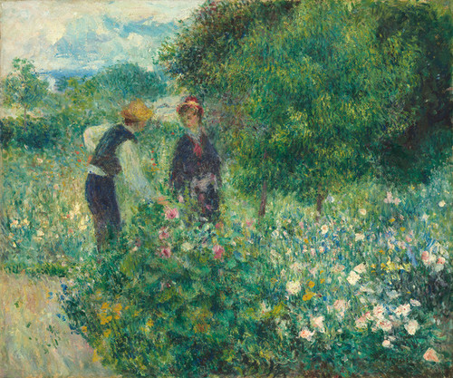 Art Prints of Picking Flowers, 1875 by Pierre-Auguste Renoir