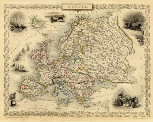 Art Prints of Europe, 1851 (0466006) by R.M. Martin and J. and F. Tallis