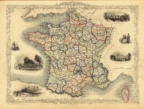 Art Prints of France, 1851 (0466012) by R.M. Martin and J. and F. Tallis