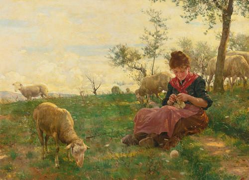 Art Prints of The Knitting Shepherdess by Raffaello Sorbi