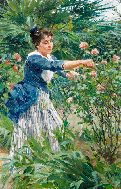 Art Prints of Pruning the Roses by Raffaello Sorbi