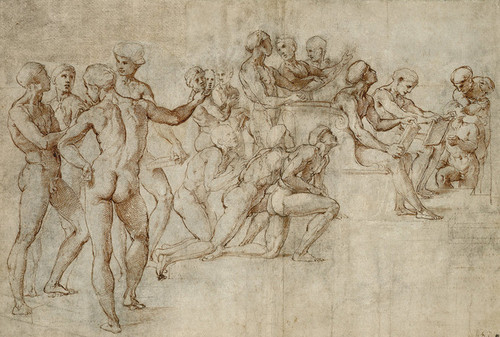 Art Prints of Sketch for the Lower Left Section of the Disputa by Raphael Santi