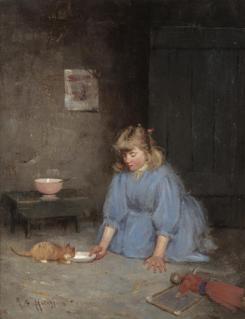 Art Prints of Feeding the Kitten by Robert Gemmell Hutchison