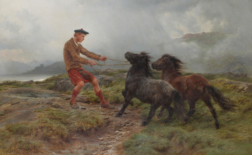 Art Prints of A Ghillie and Two Shetland Ponies in a Misty Landscape by Rosa Bonheur