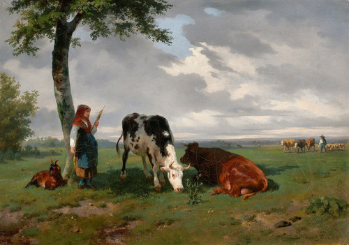 Art Prints of A Shepherdess with a Goat and Two Cows in a Meadow by Rosa Bonheur
