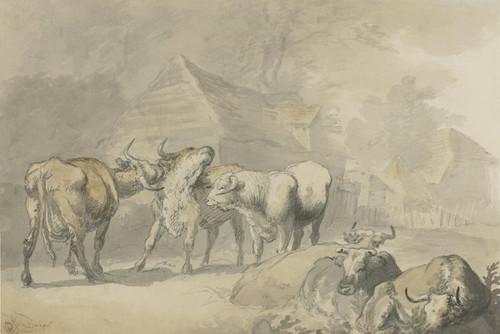Art Prints of Cows in a Hamlet by Rosa Bonheur