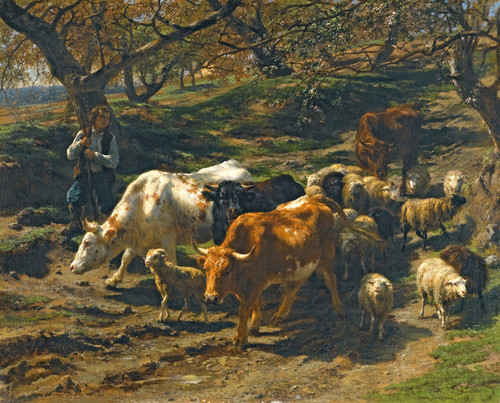 Art Prints of A Shepherd with His Flock by Rosa Bonheur