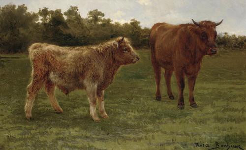 Art Prints of Two Cows Grazing by Rosa Bonheur