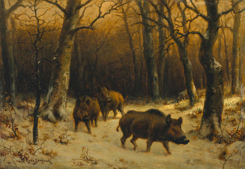 Art Prints of Wild Boars in the Snow by Rosa Bonheur