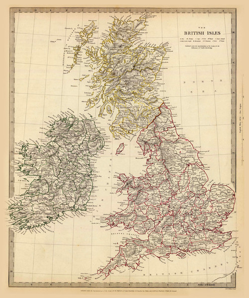 Art Prints of Great Britain and the British Isles, 1842 (089001), Great Britain Map