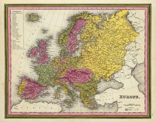 Art Prints of Europe, 1846 (0537044) by Samuel Augustus Mitchell