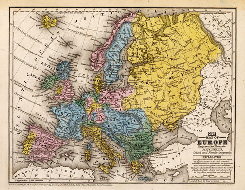 Art Prints of Map of Europe, 1839 (0523009) by Samuel Augustus Mitchell