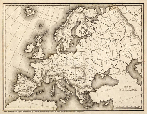 Art Prints of Map of Europe, 1839 (0522004) by Samuel Augustus Mitchell