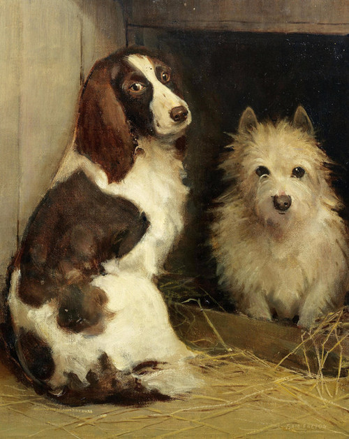 Art Prints of Spaniel and Terrier in a Kennel by Samuel Fulton