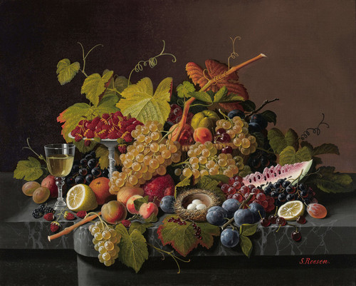 Art Prints of Still Life with Fruit and Bird's Nest by Severin Roesen