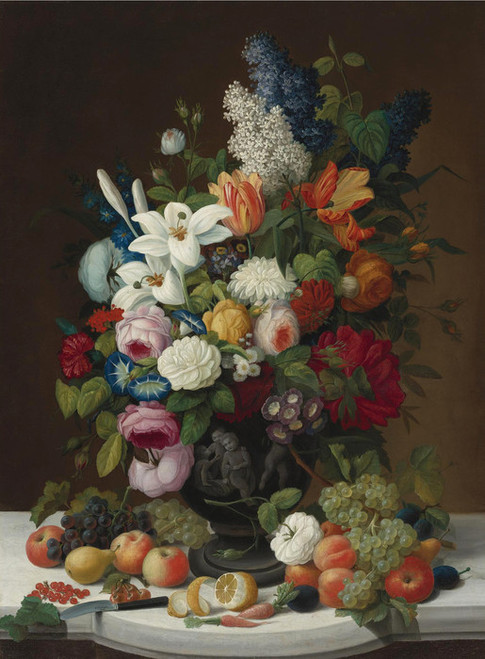 Art Prints of Still Life with Flowers and Fruit by Severin Roesen