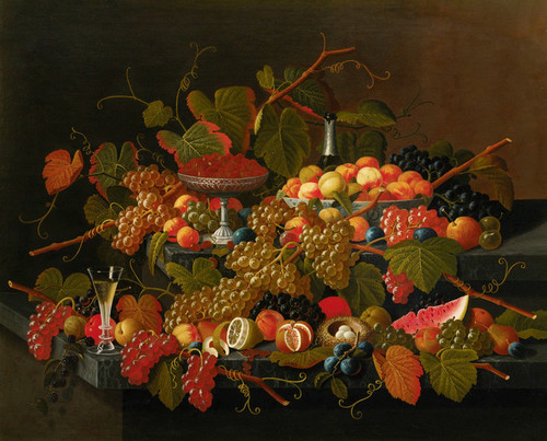 Art Prints of Still Life with Fruit and Champagne by Severin Roesen