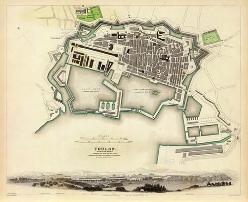 Art Prints of Toulon, 1840 (0890205), Great Britain Map