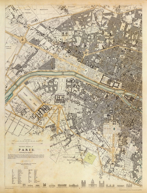 Art Prints of Paris, Western Division, 1834 (0890194), Great Britain Map