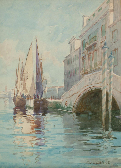 Art Prints of A Canal Bridge in Venice with Boats by Sydney Laurence