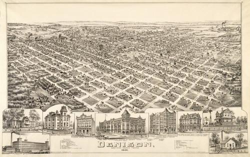 Art Prints of Denison, Texas, 1891 by Thaddeus Mortimer Fowler