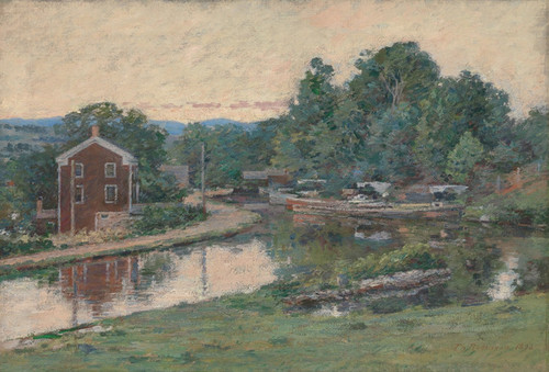 Art Prints of Evening at the Lock Napanoch, New York by Theodore Robinson